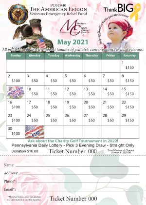 Lottery Calendar for the Month of May